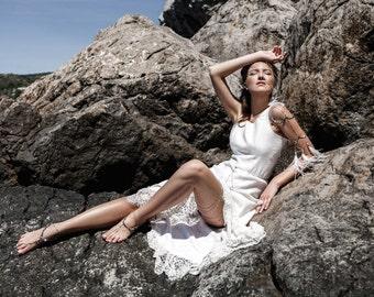 White Maxi Dress, Lace Long Dress, Asymmetrical Dress, White Lace Dress, Boho Wedding Gown, Sexy Long Dress, Casual Wedding Dress
