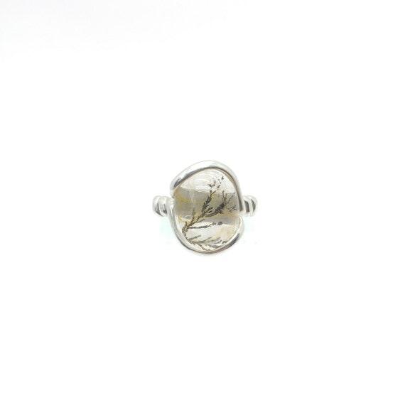 Handmade Rare Stone Ring | Dentrite Quartz Ring | Dendritic Quartz Ring | Sterling Silver Ring Sz 6.5 | Quartz Crystal Jewelry