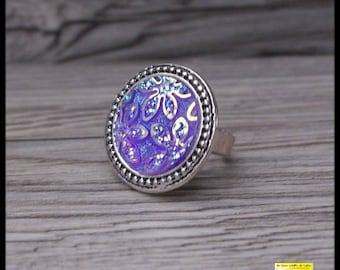 purple flower cabochon ring silver Adjustable ring antique silver color