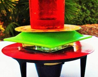 ATOMIC STYLE Mid Century Kitchen Art Candle Holder 3D Retro Votive Red Vinyl Record Table Top Night Light Vintage Orange Black Green Unisex
