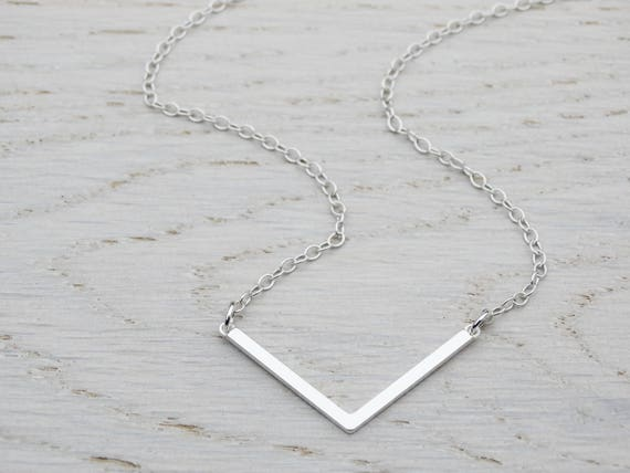 Silver Chevron Necklace, Minimalist, Dainty, Layering, Simple, Sterling Silver