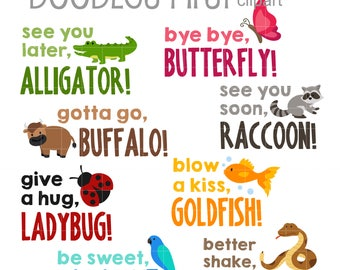 Animal Catch Phrases 1 Digital Clip Art for Scrapbooking Card Making Cupcake Toppers Paper Crafts