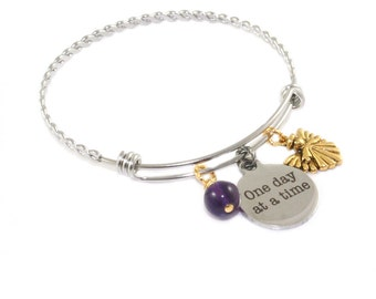 Stainless Steel Recovery Bracelet,  Amethyst, Gold Angel, One Day At A Time
