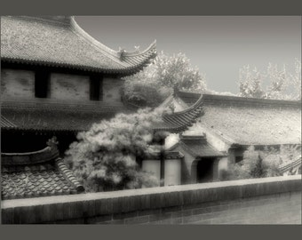 Forbidden Gate, gate keeper, china in the past, chinese ancient architecture, old world image, bw, sepia