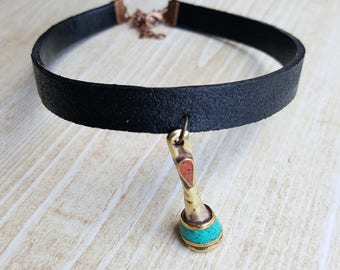 Leather Choker with Boho Bead