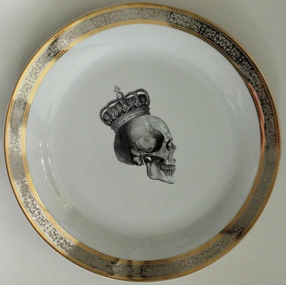 & New Gold / Silver Skull Dishes Platinum Skull Plates Skull