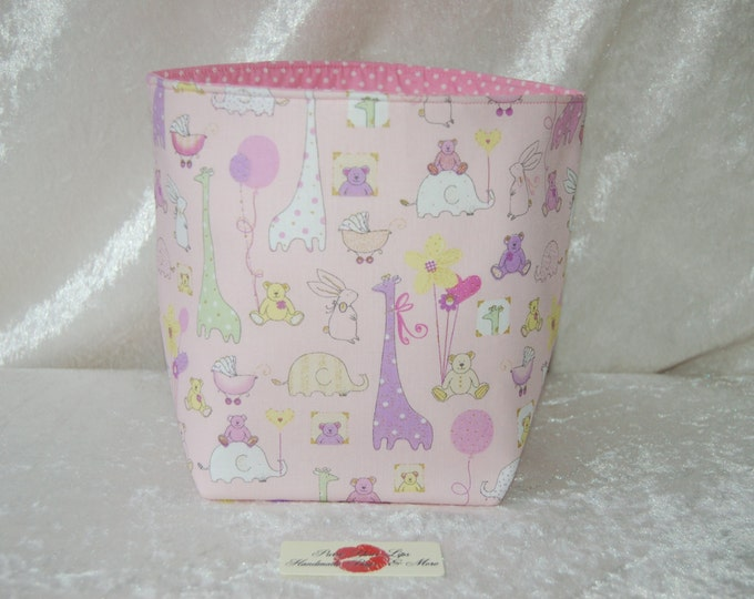 Handmade Fabric Basket Storage Bin Tall Nursery Animals