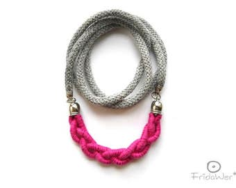 Gift for best friend or girlfriends. Pink Rose Long Necklace with braided arc pendant for ladies. Textile Pink  fashion rope jewelry