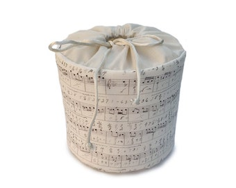 Beige and Brown Music Score - Fabric Spare Toilet Paper Cover, Cozy or Holder