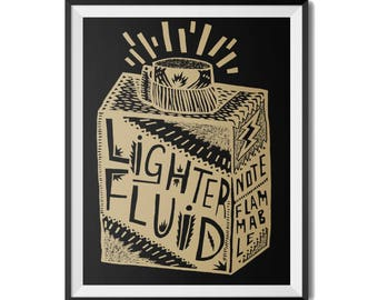 Lighter Fluid Screen-Print