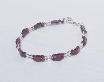 Garnet and silver 2-strand bracelet