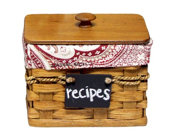 Custom Recipe Card Storage Box w/ INCLUDED Lid, Linen Liner, Erase-able Chalkboard, Amish Hand Woven Basket, Handmade, Wicker -FREE SHIPPING