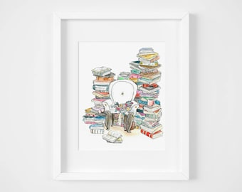 legacy library watercolor illustration art print | book lover bookworm belle library art
