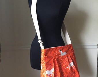 orange unicorn cross body bag // 100% cotton adjustable strap messenger bag in heather ross's far far away fabric // READY TO SHIP