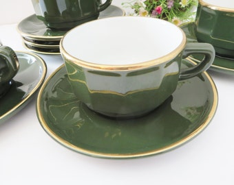 Apilco  vintage breakfast 1980's cup and saucer, French china,  Green cup, Coffee cup, Bistro ware