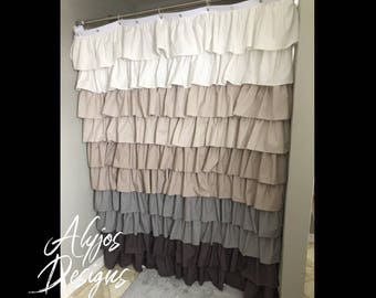Grey Ombre Ruffled Shower Curtain