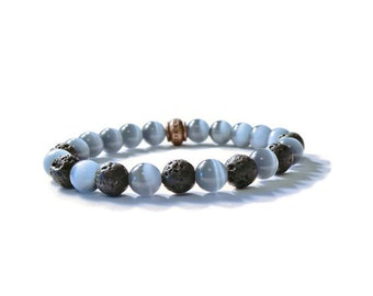 Aromatherapy Stretch Bracelet, Grey Cat's Eye with Natural Lava Stones, Essential Oils Diffuser