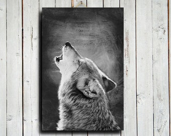 Mexican Wolf Howl - canvas - Wolf photography - Wolf decor - Black and white wolf - Wolf art - Howling wolf art - Howling wolf decor