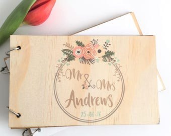 Wedding Wood Guest Book - Colour wreath timber wooden marriage engagement guestbook - personalised custom made timber wood