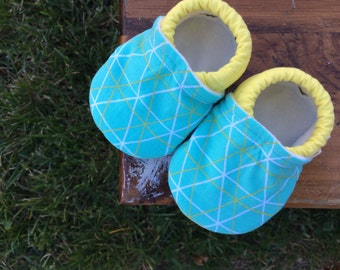 Baby Shoes for Girl or Boy - Teal Geometric Print with Yellow - Made to Order Sizes 0-24 months 2T-4T