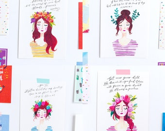 BLOOM Ladies Print Collection / 4 Postcards