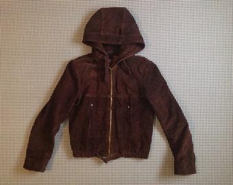 1970's, hooded, suede jacket, in espresso bean, Women size Small