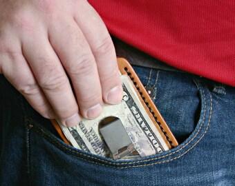 Mens Money Clip Wallet. Gift for husband or dad. Mens Leather Wallet. Personalized leather wallet. 3rd Anniversary. Boyfriend Valentines Day