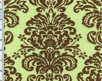 Pistachio/Brown Minky Damask, Fabric By The Yard