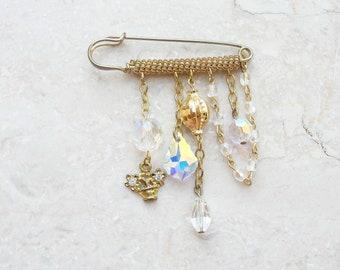 Aurora Borealis Treasures Pin Brooch - Crystals, Chains and Brass