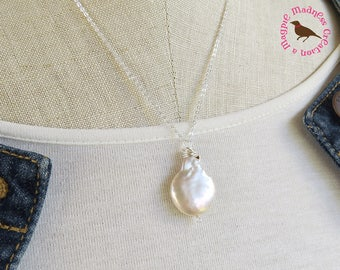 Large pearl pendant etsy large off white coin pearl necklace off white coin pearl pendant extra large pearl mozeypictures Images