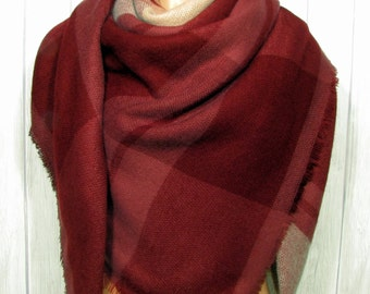 Thick Warm Blanket Scarf, Women, Burgundy Wine, See photos for pattern, Warm Soft Winter Scarves, Women's Blanket Scarves