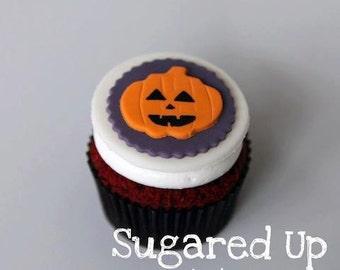 Halloween Jack-O-Lantern Fondant Cupcake Toppers