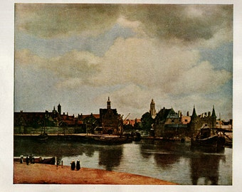 Antique Lithograph Print - - View of Delft by Vermeer - 29