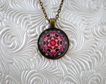 Kaleidoscope Flower Pendant Necklace  pink pendant Necklace