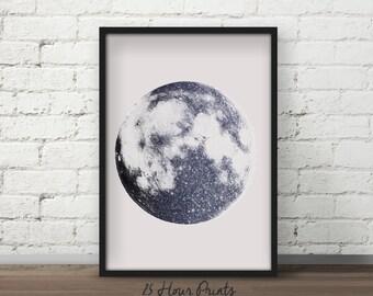Instant Download Black Glitter Moon - Art Print - Moon Printable - Digital Prints - Lunar Art - Moon Art - Moon Print - Digital