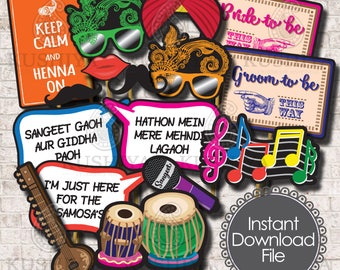 Sangeet / Mehndi Night Photo Props  - Set of 16 - Indian Wedding, Party Signs, Desi, Instant Download, Printable, Print your own, DIY.