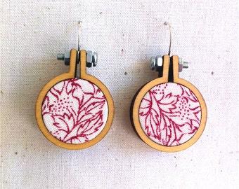Repurposed Fabric Hoop Earrings. Floral. Leaves. Lines. Pattern. Burgandy. White. Mini hoop frame. Recycled Fabric. Eco jewellery.