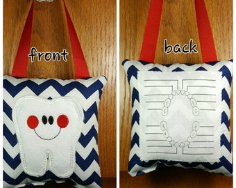 Tooth fairy pillow with tooth chart, navy and white chevron