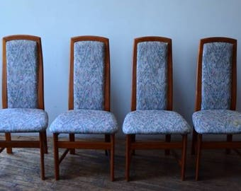 Mid Century Modern Danish Teak High-Back Dining Chairs