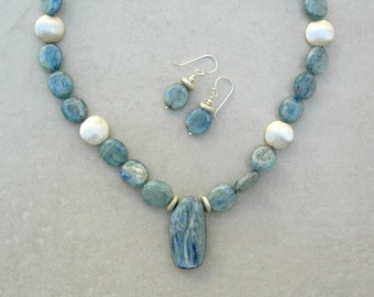 STUNNING Silver Blue Kyanite Pendant & Beads, Florentined Sterling Silver Beads, Sterling Silver Saki Clasp, Necklace Set, by SandraDesigns