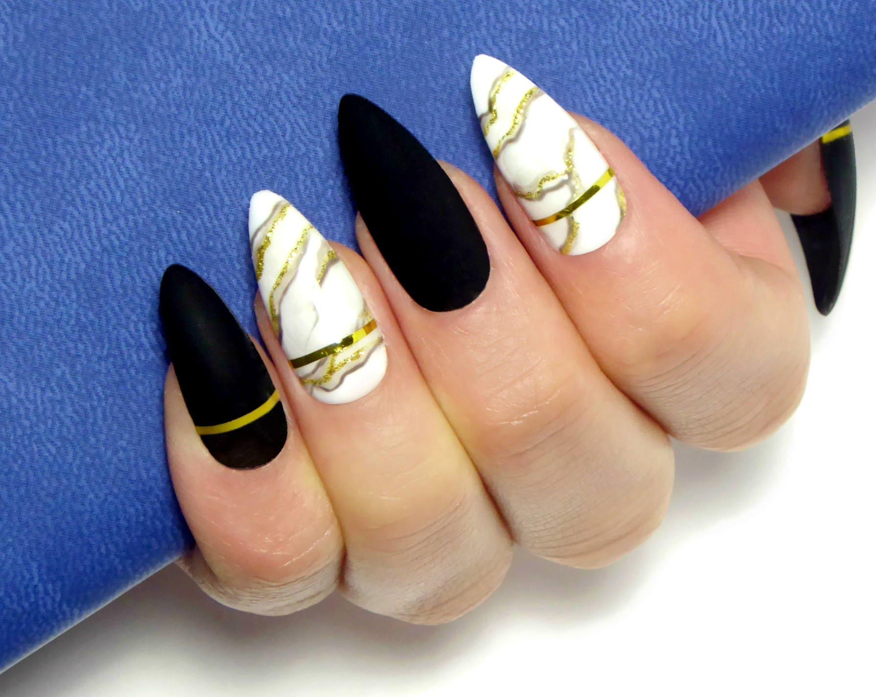 Marmor-Luxus Nägel / falsche Nägel Presse auf falsche Nägel