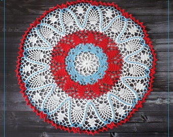 "Color Crochet Doily 16.14"", lace crochet doily in cyan and red"