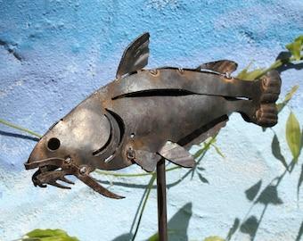 Catfish metal art sculpture for the garden, fish garden art, fishing metal art, 3D sculpture, made in the USA