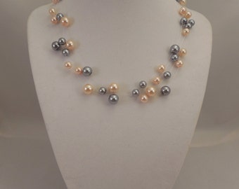 Very Elegant Wedding Bridal Multi Strand, Illusion Floating Necklace with Blush Peach Pink and Pewter(Gray) Glass Pearls