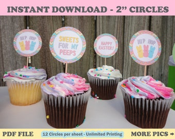 Easter Cupcake Toppers/ Easter Party/ Easter Labels/ Easter Favor Stickers/ Easter Kids/ Easter Favors/ Printable Easter/ DIY Easter Party