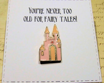 Fairy Tale Castle Enamel Pin with handmade Punny card & envelope - Lapel Pin - Hard Enamel Pin - Kawii - Trending - Backpack Pin