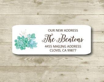 Succulents, New Address, Cactus, Return Address Label, Custom, MATTE, Moving, We've Moved