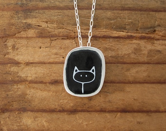 Black and White Cat Necklace - Sterling Silver and Vitreous Enamel Stick Kitty Pendant