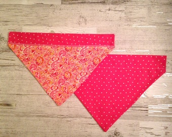 Pink Paisley Over Collar Dog Bandana, Girly Polka Dot Pet Scarf, Reversible