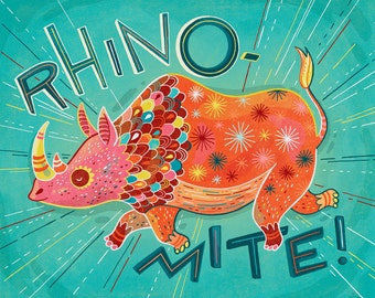 Rhino Art: RHINO-MITE! Giclee print of rhinoceros illustration in turquoise and coral